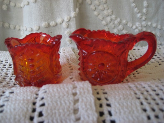 Fenton red glass, Small Ruby Red Creamer and Sugar, Vintage Carved  Glass, carnival glass