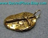 New Vintage Bronze Medallion Jesus Christ Cross pendant charm