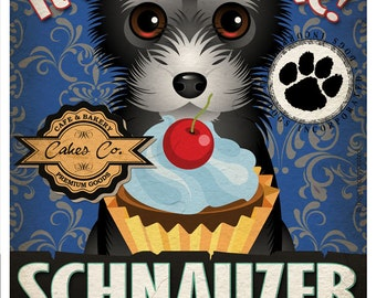 Schnauzer Cupcake Company Original Art Print - Custom Dog Breed Print -11x14- Customize with Your Dog's Name - Dogs Incorporated