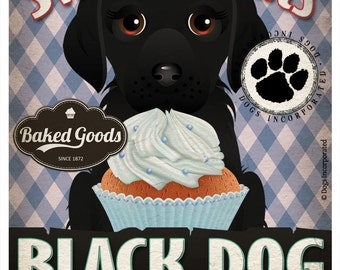 Black Dog Cupcake Company Original Art Print - Black Dog Art - 11x14 - Personalize with Your Dog's Name - Dogs Incorporated