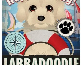 Labradoodle Sailing Company Original Art Print - 11x14 - Customize with Your Dog's Name