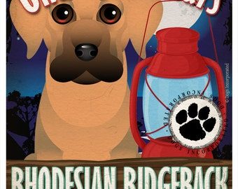 Rhodesian Ridgeback Wilderness Dogs Art Print - Personalized Dog Breed Art -11x14- Customize with Your Dog's Name - Dogs Incorporated