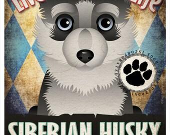 Siberian Husky Pampered Pups Original Art Print - 11x14 - Dog Poster - Dogs Incorporated