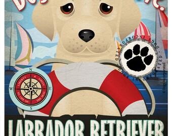Labrador Retriever Sailing Company Original Art Print 11x14 - Yellow Lab Art
