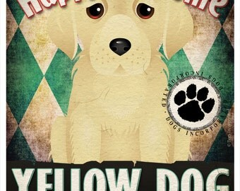 Yellow Dog Pampered Pups Original Art Print - 11x14 - Dog Poster - Dogs Incorporated
