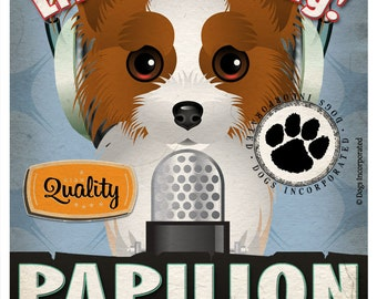 Papillon Studio Original Art Print - Custom Dog Breed Print - 11x14 - Personalize with Your Dog's Name