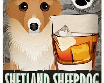 Shetland Sheepdog Drinking Dogs Original Art Poster Print - Personalized Dog Art -11x14- Customize with Your Dog's Name - Dogs Incorporated