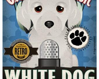 White Dog Recording Studio Original Art Print - Custom Dog Breed Print - 11x14