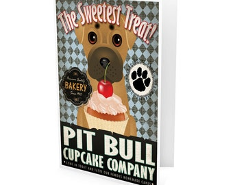 Pit Bull Cupcake Company Greeting Card - Dog Lover Note Cards (pack of 6) - includes  6 Color-Coordinated Envelopes