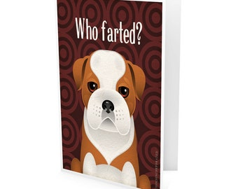 Funny Bulldog Company Greeting Card - Dog Lover Note Cards (pack of 6) - includes  6 Color-Coordinated Envelopes