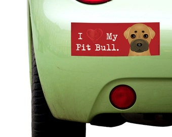 "Dogs Incorporated I Love My Pit Bull   - I Heart My Dog Bumper Sticker 3""x 8"" Coated Vinyl"