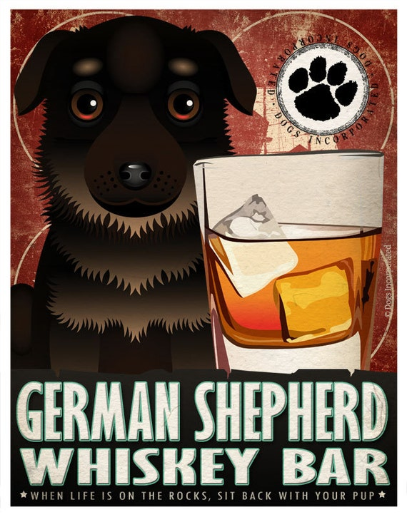 German Shepherd Drinking Dogs Original Art Poster Print - Personalized Dog Art -11x14- Customize with Your Dog's Name - Dogs Incorporated