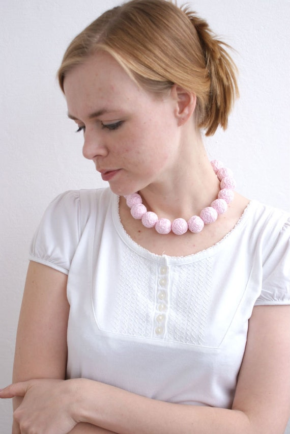 Set pink balls handmade beaded - necklace and ring thread cotton for women fiber natural pastel