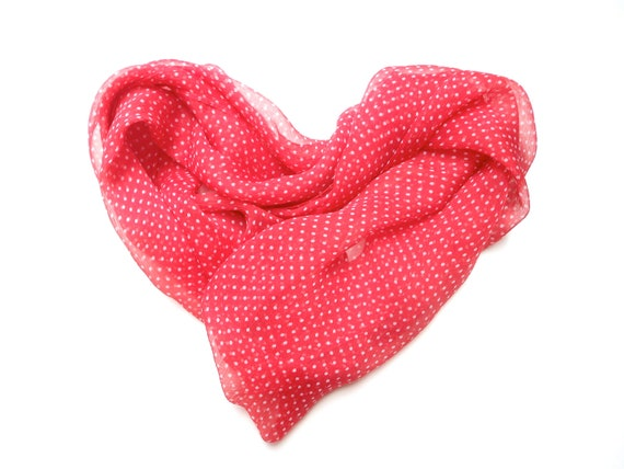 Scarlet and white, polka dot silk scarf