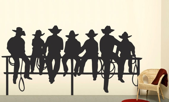 Items similar to cowboys on fence western decal boys for Cowboy wall mural