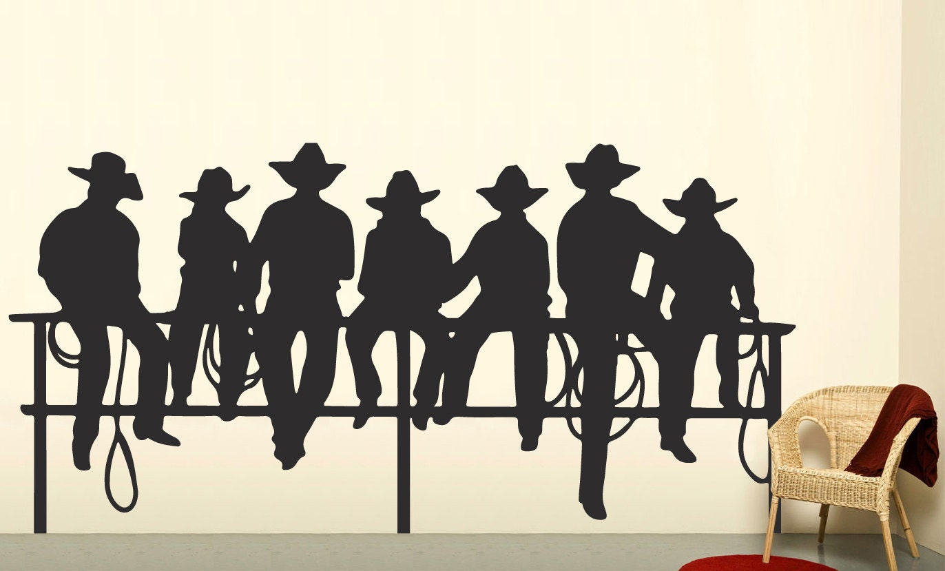 Cowboys on fence western decal boys wall decal by for Cowboy wall mural