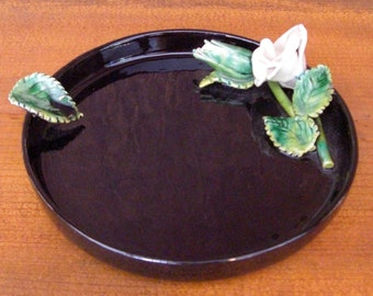 Vintage 1960's Black California Pottery Floral Ashtray Coaster Dish
