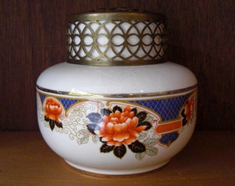 Antique Late 1800-mid 1900's Falconware Flower Frog Vase No 2 Made in England Falcon Ware with Orange Flowers