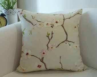 Decorative throw pillow 18x18 inches,cushion cover in a natural background with a beautiful almond print on it.