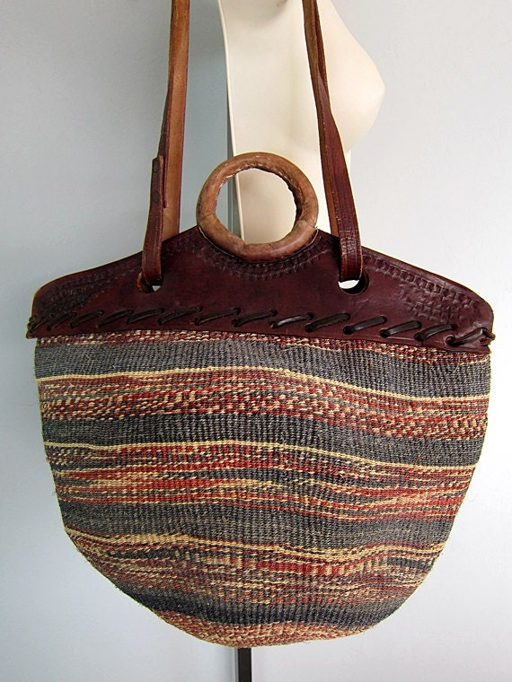 Vintage Ethnic Tooled Leather Bag Jute Tribal Bucket Tote Bag Market Woven Handbag