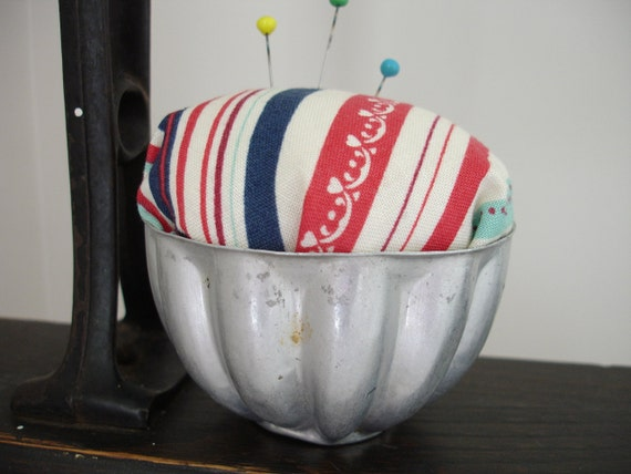 50% OFF Red White and Blue Striped Tin Jello Mold Pin Cushion