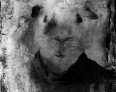 Black and White Surreal Photography, Anthropomorphic Art Print, Guinea Pig, Dark Art Photo
