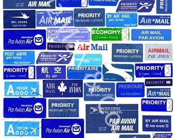 International AIRMAIL POSTCARDS - postage labels - set of 5 - first class shipping