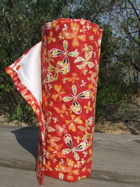 """Butterfly, Butterlfy on Red - Eco-Friendly """"Un-paper"""" Towel Roll - 8 towels"""