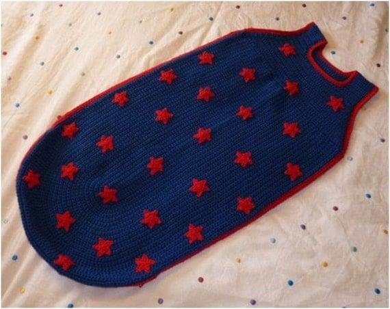 Crochet Pattern Baby Toddler Child Sleeping Bag Bunting Cocoon Sleep Sack Dreampod Cosy Stars