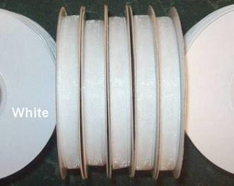 "WHITE ORGANZA RIBBON Spool Roll Sheer Edged 1/4"" X 25 Yards 21 Colors"