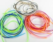Rubber cord 2mm hollow tubing, 14  assortment of colors, 28 feet