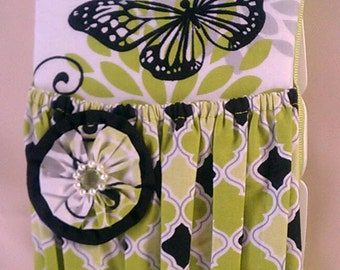 Lime Green and Black with Butterfly Decorated  Diaper Wipes Case.