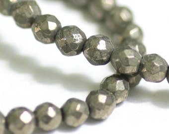 Golden Pyrite Beads, Faceted Round Nuggets, Fool's Gold, Chalcopyrite, 16 Inch Strand, 4mm, Choose Quantity, GS-204