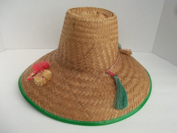 Vintage Ladies Straw Sun Hat with Flowers and Tassels