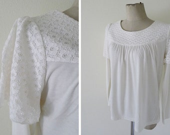 SALE Vintage dead stock, NOS, ivory lace arms double layers t-shirt, long sleeves, plain t- shirt, minimal blouse, never used  - white lace