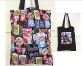 Love Candy Tote Bag - Cotton Fabric Black and Multicolor Reusable Shopping Tote