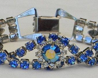 Vintage 1950s Sapphire and Crystal Rhinestone Rhodium Link Bracelet