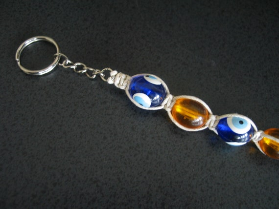 Blue evil eye beaded macrame keychain