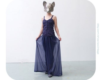 SALE Vintage dark blue harem style trousers, dark blue wide leg trousers, dark blue harem pants