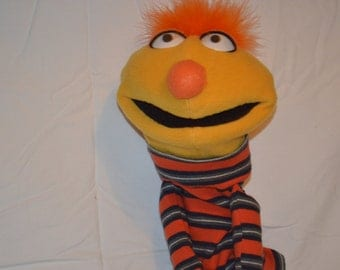 Yellow Hand Puppet with Striped Shirt
