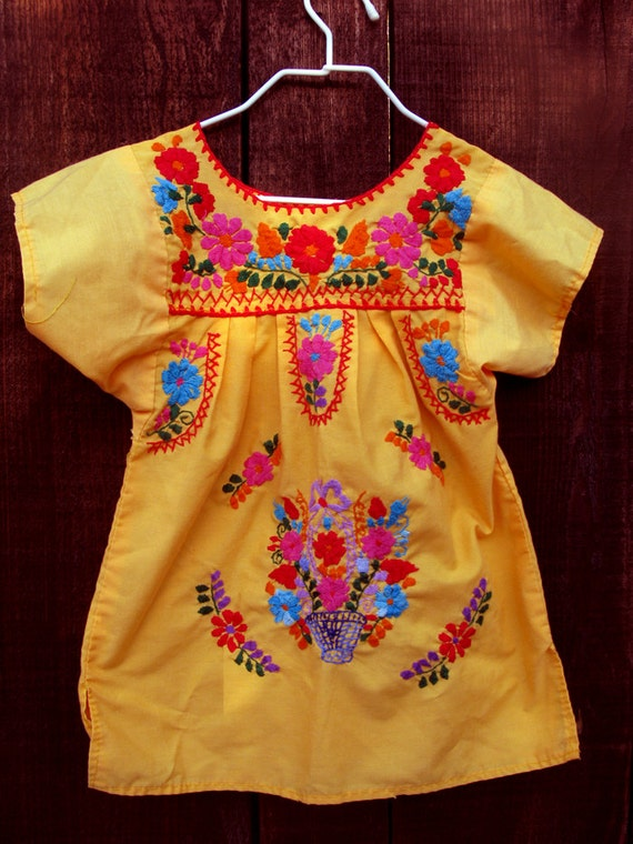 Child's sunny embroidered dress