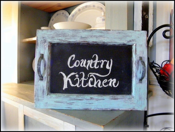 Country Charm Farmhouse Shabby Chalk Painted Wood Chalkboard Memo Board Display Tray with Handles