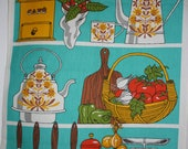 SALE Kitsch Kitchen Tea Towel, utensils screen print, Vintage Teatowel