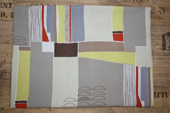 1950s vintage fabric, abstract design, mid century