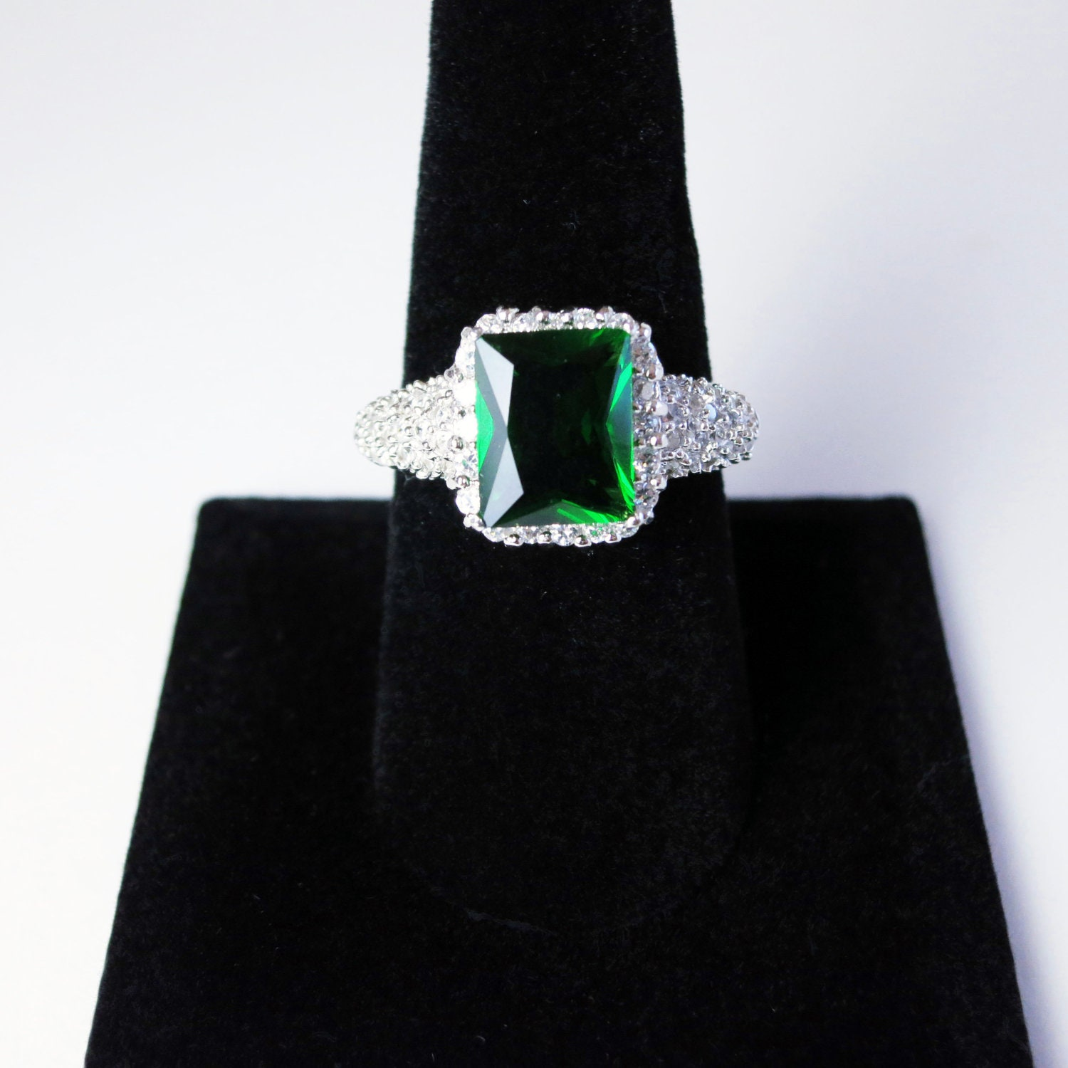silver cocktail ring with faux emerald size by