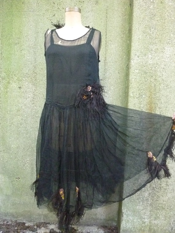 REDUCED 1920s Silk Chiffon Sheer Black Dress With Ostrich Feathers Size Small