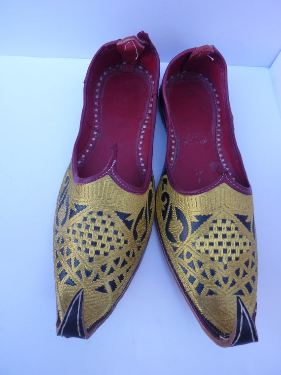 embroidered moroccan leather shoes genie slippers by