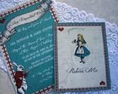 Vintage Alice in Wonderland Wedding Invitation and RSVP Card (White Rabbit & Mad Hatter Invite) Red, Blue, White INSTANT DOWNLOAD