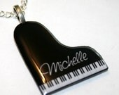 Customized, Personalized Piano, Resin Pendant Necklace, Handmade
