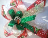 christmas snowman hair clip snowman hair bow red and green hair bow  christmas bow kids christmas bow